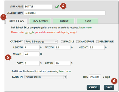 Adding order fulfillment products: units
