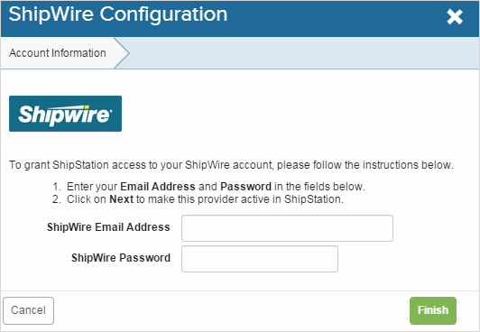 Enter Shipwire Login Credentials