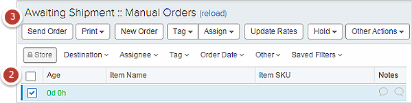 Select and Send Orders