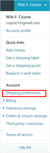Shipping Preferences