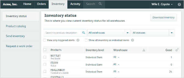 inventory status