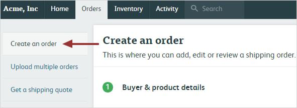Create an order