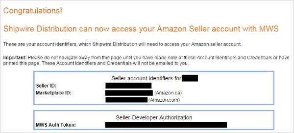 Amazon MWS Information
